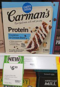 Carman's 200g Bars Protein Cookies & Cream