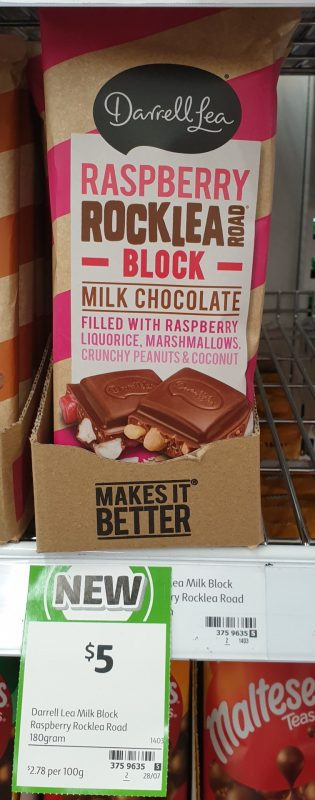 Darrell Lea 180g Milk Chocolate Raspberry Rocklea Road Block