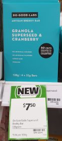 Do Good Labs 128g Brekky Bar Granola Superseed & Cranberry