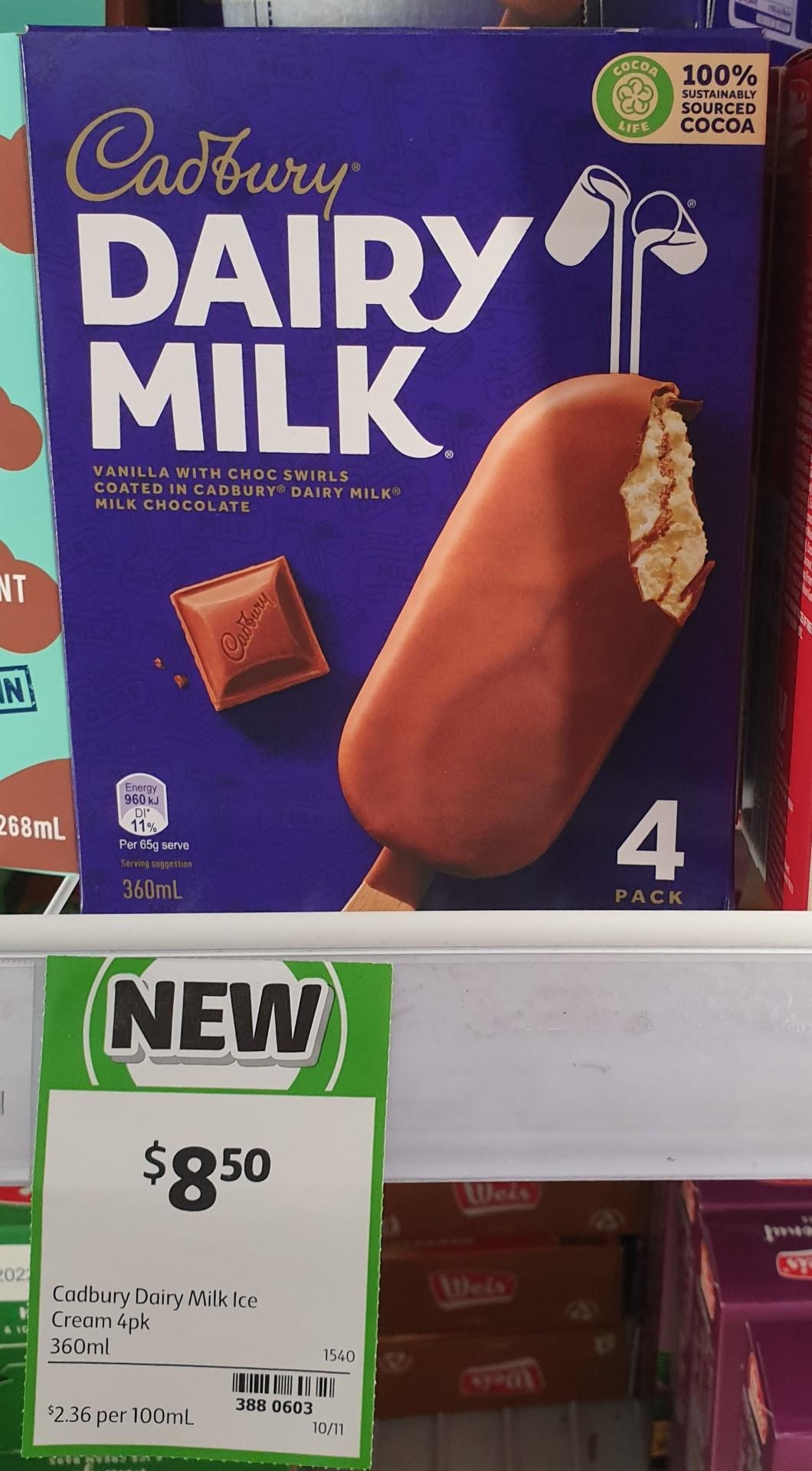 Cadbury 360mL Dairy Milk Ice Cream