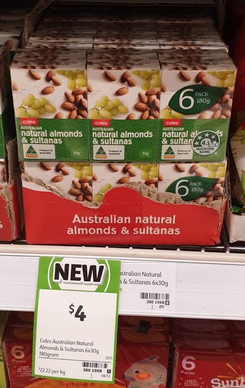 Coles 180g Australian Almonds & Sultanas