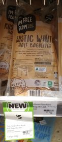 Coles 260g Im Free From Baguettes Half Rustic White 1