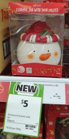 Coles 50g Christmas Ceramic Jar With Sour Lollies