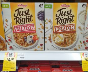 Kelloggs 400g Just Right Crunchy Granola Cereal Fusion Cranberry Apple 1