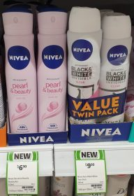 Nivea 250mL Anti Perspirant Pearl & Beauty, Black & White Invisible