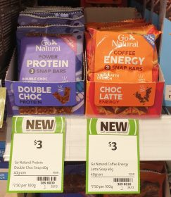 Go Natural 40g Snap Bars Power Protein Double Choc Coffee Energy Choc Latte Crunch
