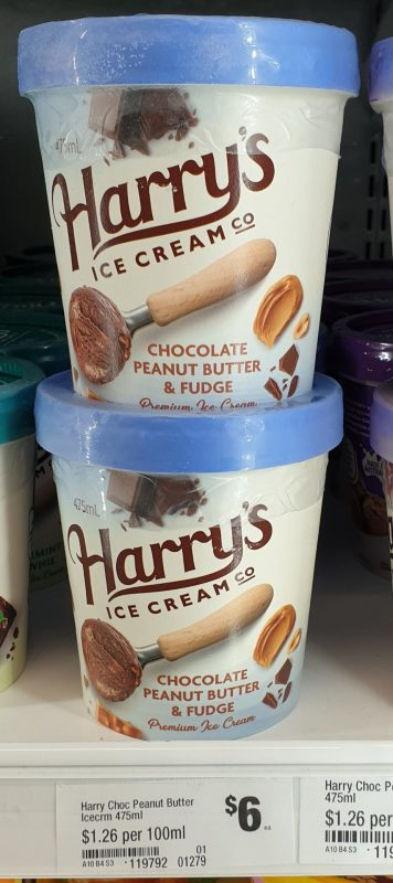 Harrys Ice Cream Co 475mL Ice Cream Chocolate Peanut Butter Fudge