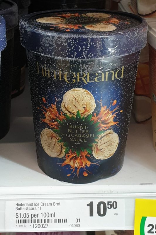 Hinterland 1L Ice Cream Burnt Butter With Caramel Sauce