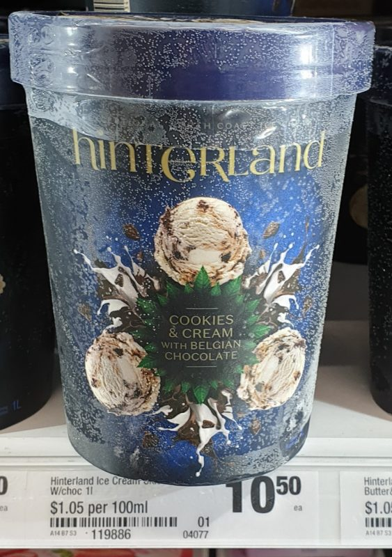 Hinterland 1L Ice Cream Cookies Cream With Belgian Chocolate