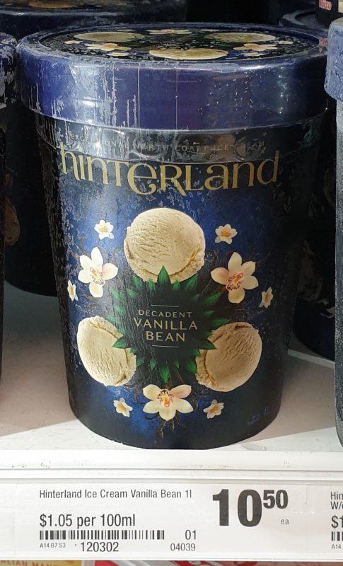 Hinterland 1L Ice Cream Vanilla Bean Decadent
