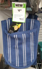 Coles 1 Pack Cook Dine Oven Glove Navy Stripe Double