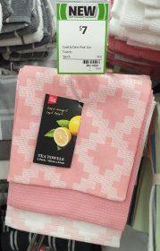 Coles 3 Pack Cook Dine Tea Towels Pink
