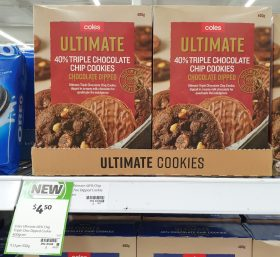 Coles 400g Ultimate 40 Triple Chocolate Chip Cookies Chocolate Dipped