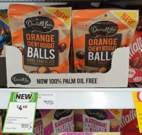 Darrell Lea 140g Balls Dark Chocolate Orange Chewy Nougat