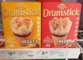Peters 475mL Drumstick Mega Tip Honey Macadamia Choc Peanut Caramel