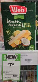 Weis 280mL Ice Cream Bars Lemon Coconut Lemon Myrtle