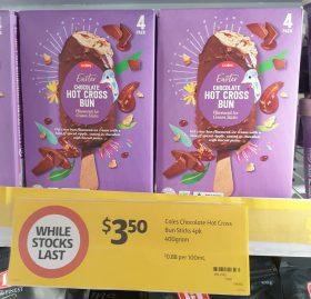 Coles 400mL Ice Cream Stick Easter Chocolate Hot Cross Bun
