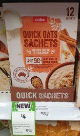 Coles 420g Quick Oats Sachets Brown Sugar Cinnamon