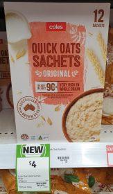 Coles 420g Quick Oats Sachets Original