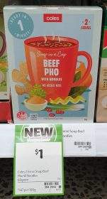 Coles 60g Soup In A Cup Beef Pho With Noodles 1