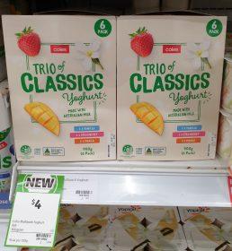 Coles 900g Yoghurt Trio Of Classics Vanilla Strawberry Mango