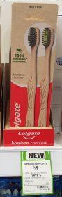 Colgate 2 Pack Toothbrush Bamboo Charcoal Medium