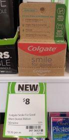 Colgate 50m Dental Floss Smile For Good Spearmint