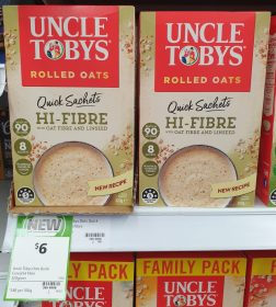 Uncle Tobys 320g Rolled Oats Quick Sachets Hi Fibre With Oat Fibre And Linseed