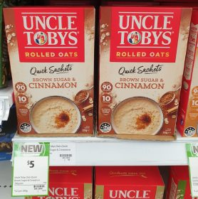 Uncle Tobys 350g Rolled Oats Quick Sachets Brown Sugar Cinnamon