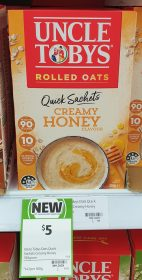 Uncle Tobys 350g Rolled Oats Quick Sachets Creamy Honey Flavour