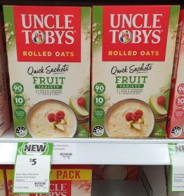 Uncle Tobys 350g Rolled Oats Quick Sachets Fruit Variety