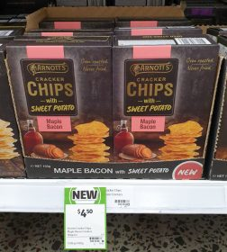 Arnotts 150g Cracker Chips With Sweet Potato Maple Bacon