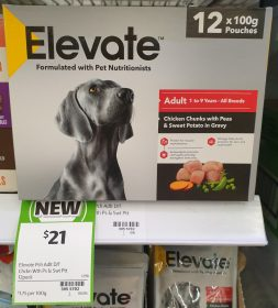 Elevate 12 X 100g Dog Food Chicken Chunks With Peas Sweet Potato In Gravy
