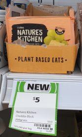 Coles 200g Natures Kitchen Plant Based Eats Cheddar Block