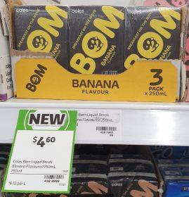 Coles 3 X 250mL BOM Banana Flavour