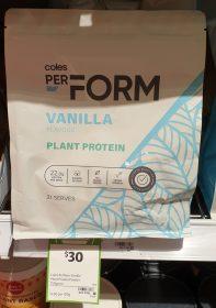 Coles 750g PerForm Plant Protein Vanilla Flavour