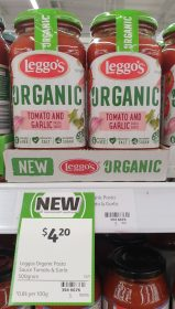 Leggos 500g Pasta Sauce Organic Tomato And Garlic