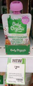 Only Organic 100g Mango Banana Passion Coconut Flaxseed 1