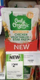 Only Organic 170g Chicken Vegetables Star Pasta 1