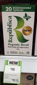 Republica 20 Pack Capsules Coffee Decaf Organic