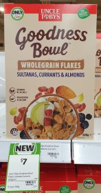 Uncle Tobys 620g Goodness Bowl Wholegrain Flakes Sultanas Currants Almonds