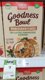 Uncle Tobys 645g Goodness Bowl Wholegrain Flakes Oat Clusters Pumpkin Seeds Almond