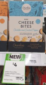 Charlies Fine Food Co 100g Cheese Bites Mini Cheddar And Cracked Pepper