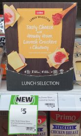 Coles 110g Lunch Selection Tasty Cheese With Honey Ham Lavosh Crackers Chutney