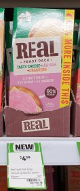 Real Dairy Australia 80g Real Feast Pack Tasty Cheese Leg Ham Crackers