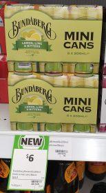 Bundaberg 6 X 200mL Mini Cans Lemon Lime Bitters