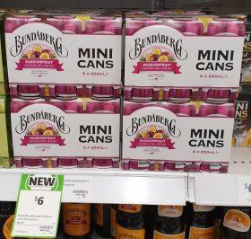 Bundaberg 6 X 200mL Mini Cans Sparkling Drink Passionfruit
