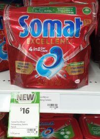 Somat 15 Pack Excellence Dishwashing Tablets 4 In 1 Gel Caps