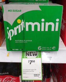 Sprite 6 X 250mL Mini Cans No Sugar