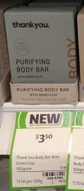 Thankyou 100g Body Bar With Green Clay